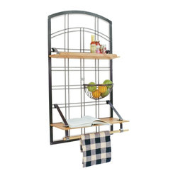 Enclume - Gourmet Kitchen Wall Shelf with Hammered Steel Frame - Turn wall space into a full-fledged kitchen work area. A hammered steel frame features an elegant grid with alder shelves and towel rack. Pair it with a sideboard or cart and you'll have an even more beautiful and functional area. Fruit basket is not included. * Organization and storage for your wall that is as beautiful as it is practical!. Made in the USA with a custom hammered steel frame and grid. 9 in. W x 24 in. L x 41.5 in. H