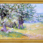 """John Joseph Enneking-18""""x24"""" Framed Canvas - 18"""" x 24"""" John Joseph Enneking Sheep Under the Apple Blossoms framed premium canvas print reproduced to meet museum quality standards. Our museum quality canvas prints are produced using high-precision print technology for a more accurate reproduction printed on high quality canvas with fade-resistant, archival inks. Our progressive business model allows us to offer works of art to you at the best wholesale pricing, significantly less than art gallery prices, affordable to all. This artwork is hand stretched onto wooden stretcher bars, then mounted into our 3"""" wide gold finish frame with black panel by one of our expert framers. Our framed canvas print comes with hardware, ready to hang on your wall.  We present a comprehensive collection of exceptional canvas art reproductions by John Joseph Enneking."""