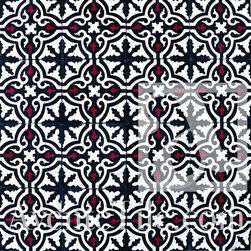 Traditional Neiba Cement Tile - This graphic tile is really fun, I love the red popping out of the background. If you're afraid of this much pattern, use it as a border tile instead.