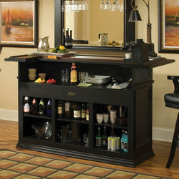 American Heritage - American Heritage Ashford Bar in Antique Black - The antique black finish and decorative raised panels create the look while the bar offers well-designed storage for bottles  glassware and mixing tools.
