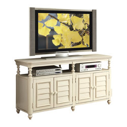 Riverside Furniture - Riverside Furniture Placid Cove Louver TV Console in Honeysuckle White - Riverside Furniture - TV Stands - 16741 - Riverside's products are designed and constructed for use in the home and are generally not intended for rental commercial institutional or other applications not considered to be household usage. Riverside uses furniture construction techniques and select materials to provide quality durability and value in their products. The construction of Riversides core product line consists of a combination of cabinetmaker hardwood solids and hand-selected veneers applied over medium density fiberboard (MDF) and particle board. MDF and particle board are used in quality furniture for surfaces that require stability against the varying environmental conditions in modern homes.You'll appreciate the multiple-step application of Riverside's furniture finishes. Their finishing processes involve several steps of hand sanding applications of several types of finishing coats padding and polishing.
