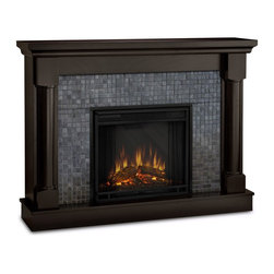 """Real Flame Bennett Electric Fireplace Dark Walnut - 3120E-DW - Real Flame Bennett Electric Fireplace Dark Walnut - 3120E-DWProduct Features The Bennett shines with contemporary elegance. Natural-stone tiled firebox surround and solid wood turned columns bring a handsome sophistication to any space. The deeply toned color palette works well with existing decor, while exuding undeniable class. The Vivid Flame Electric Firebox plugs into any standard outlet for convenient set up. The features include remote control, programmable thermostat, timer function, brightness settings and ultra bright Vivid Flame LED technology. * The Hidden Led Display Shows The Settings As They Are Changed From Either The Control Panel Or The Slim Profile Remote. * Features A Programmable Thermostat To Provide Precise Heating In Celsius Or Fahrenheit, Timed Shut Off, Dynamic Embers. * Requires Open Clearance From The Top And Back. * 1400 Watt heater, rated over 4700 BTUs per hour * programmable thermostat with display in Fahrenheit or Celsius * Ultra Bright LED technology with 5 brightness settings * Digital readout display with up to 9 hours timed shut off * Dynamic ember effect * Fireplace includes wooden mantel, firebox, screen, and remote control. * Solid wood and veneered MDF construction * Product Dimension: 39"""" H X 53.375"""" W X 12.25"""" DReal Flame: Ventless Gel, fireplaces and accessoriesFor nearly 30 years Real Flame has been the leader in the production and sale of gel-fueled fireplaces and accessories. All of Real Flame products are manufactured to the highest standards and, of course, safety is the top priority in all of the designs.Real Flame Gel Fuel is an exclusive premium alcohol based blend that requires no ventilation when burned. No chimney, no gas hookups and no electricity needed. Makes an ideal addition to any room in all types of homes adding the warmth and ambience of a real fire without the hassle and expense of costly installations.Tested and approved for indoor and out"""