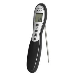 Taylor® Digital Grilling Thermometer - With 16 pre-programmed doneness levels for varying meats, this digital thermometer assures perfectly grilled beef, pork, poultry, and lamb from rare to well-done. Thermometer is simple to use and set. Audible alarm signals when food is done; probe folds for safe storage.
