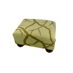 Lava - Branches Footstool - Upholstered footstool with wooden bun feet and polyurethane foam fill. Measures 15 x 12 x 7. Spot clean only. Handcrafted in USA.