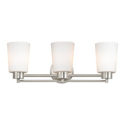 Design Classics Lighting - Modern Bathroom Light with White Glass in Satin Nickel Finish - 703-09 GL1027 - Contemporary / modern satin nickel 3-light bathroom light. A socket ring may be required if installed facing down. Takes (3) 100-watt incandescent A19 bulb(s). Bulb(s) sold separately. UL listed. Damp location rated.