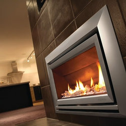 ESCEA - ESCEA Indoor Gas Metalic Silver Fireplace - Velo Front, W/O Fuel Bed, W/O Flue B - The ESCEA Indoor gas fireplace with a metalic silver Velo fascia is a sleek, contemporary style fireplace.