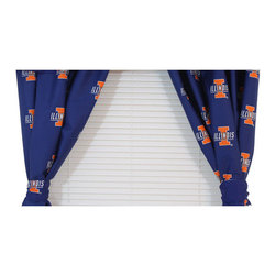 College Covers - NCAA Illinois Illini Drapes Collegiate Window Curtains - Features: