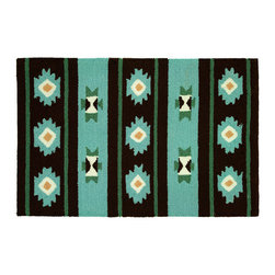 Homefires - Navaho Blanket Rug - Travel to the four-corners of the United States daily when you bring this Navajo blanket rug into your home. The brightly colored, machine washable, wool look-alike rug brings you the spirit of the West without any superstitions.