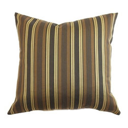 """The Pillow Collection - Paton Stripes Pillow Brown/Gold 18"""" x 18"""" - Create a decor theme that fits a men's style preference with this throw pillow. This accent pillow is perfect for the office space with its stylish yet low-key look. This 18"""" pillow feature stripes print pattern in brown/gold color combination. This decor pillow comes in manly hues of black, brown and gold. The square pillow is made from 50% polyester and 50% silk fabric. Hidden zipper closure for easy cover removal.  Knife edge finish on all four sides.  Reversible pillow with the same fabric on the back side.  Spot cleaning suggested."""