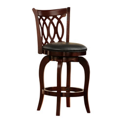 "Homelegance - HomeBelle 24"" Scroll Back Swivel Counter Stool, Cherry - HomeBelle 24"" Counter stool with cherry finish features scroll work is done to the curved back for comfort back and has 360 deg swivel is provided to the seat."