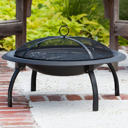 """Fire Sense - 29"""" Folding Fire Pit - Our folding fire pit features a 29"""" heat resistant painted steel fire bowl and folding legs for easy portability. This fire pit comes complete with heat resistant mesh fire screen, a wood grate and cooking grate. Also included is a carrying bag and screen lift tool.; Heat Resistant Painted Steel Bowl and Fire Screen; Log Grate, Cooking Grate and Fire Tool Included; Folds for Easy Portability; Carrying Bag Included; Weight: 10.4 lbs; Dimensions: 29""""L x 29""""W x 17.3""""H"""