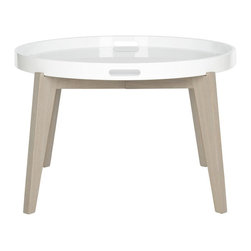 Safavieh - Echo Lacquer End Table - Ready for a party or movie night munchies, the Echo end table is a silent butler for your home with removable white lacquer tray atop a grey-wash grained base.  Good looking and hard-working, this clean-lined table is styled for contemporary rooms.