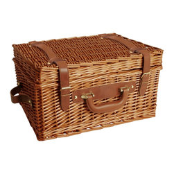 None - Brown 16-inch Willow Picnic Basket - This gorgeous picnic basket features a medium honey brown stain. The attached folding lid with faux leather straps will keep all of your picnic goodies safe.