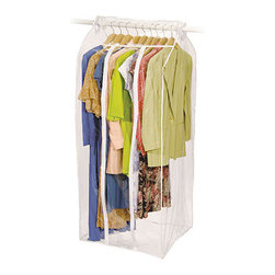 Richards Homewares - Frameless Dress Bag  by Richards - Preserve dresses, long coats, suits, and other garments in your closet or garage with this Jumbo Frameless Dress Bag! This clear suit bag installs over any standard closet rod dowel in seconds via Velcro strips. Clothes hang directly on closet rod while remaining inside and protected by the clear vinyl bag. This vinyl apparel bag is adjustable, so there's no wasted space. The translucent cover provides easy viewing and dust protection. Two vertical zippers provide easy access to your garments. This garment bag is completely self-contained, with a closed bottom and top!