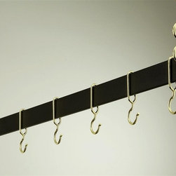 Rogar - Hanging Bar Rack in Black w Brass (42 in.) - Choose Size: 42 in.Made of Steel. Black finish. Rack is perfect over a kitchen island. Puts cookware and utensils at hand. It 's available in four lengths and five finishes. Each rack comes w 2 pieces of 18 in. plated chain. Special design ensures hooks won't slide off bar. Powder coated Steel in 36 in., 42 in., 48 in. and 54 in. L. Includes 6 Brass Hooks. 36 in. L x 2 in. H (10 lbs.). 42 in. L x 2 in. H (11 lbs.). 48 in. L x 2 in. H (12 lbs.). 54 in. L x 2 in. H (13 lbs.)