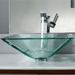Kraus - Kraus Clear Aquamarine Glass Vessel Sink with Unicus Faucet - Add a touch of elegance to your bathroom with a glass sink combo from Kraus.