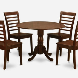 "East West Furniture - 5Pc Dublin Dining Table and 4 Milan Ladder-Back Chairs with Wood Seat - 5Pc Dublin Kitchen Round Table with 2 Drop Leaves and 4 Milan Ladder-Back Chairs with Wood Seat in Mahogany; The Dublin kitchen sets are of modest size, which is perfect for smaller dining spaces.; Made from Asian solid wood, it is finished with a mahogany finish.; Match beautifully in any traditional kitchen or dining room.; Supported by a single pedestal, this round table also features two drop leaves.; Its size makes the perfect dinette set for first-time buyers or smaller families.; Chairs are available with either wooden seats or upholstered seats to suit preference and desired motif.; Ladder back chair style is sturdy, durable, and is ideal for classic decor in any kitchen or dining room.; Weight: 116 lbs; Dimensions: Table: 42""L x 42""W x 29""H; Chair: 18""L x 17.5""W x 38""H"