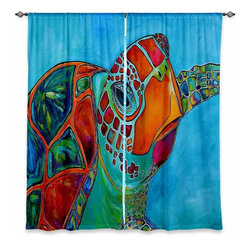 """DiaNoche Designs - Window Curtains Unlined - Patti Schermerhorn Seaglass Sea Turtle - DiaNoche Designs works with artists from around the world to print their stunning works to many unique home decor items.  Purchasing window curtains just got easier and better! Create a designer look to any of your living spaces with our decorative and unique """"Unlined Window Curtains."""" Perfect for the living room, dining room or bedroom, these artistic curtains are an easy and inexpensive way to add color and style when decorating your home.  The art is printed to a polyester fabric that softly filters outside light and creates a privacy barrier.  Watch the art brighten in the sunlight!  Each package includes two easy-to-hang, 3 inch diameter pole-pocket curtain panels.  The width listed is the total measurement of the two panels.  Curtain rod sold separately. Easy care, machine wash cold, tumble dry low, iron low if needed.  Printed in the USA."""