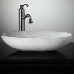 New Stone Vessel Sinks - Ceres White Onyx Vessel Sink