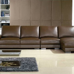 Charles Classic Leather Sectional - This three pieced Charles Classic Leather Sectional includes a unique polished oak table top and brings a timeless addition to your home furniture collection.