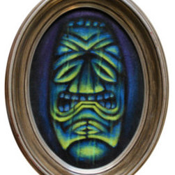 Green Tiki (Original) by Woody Miller - A spooky tiki with dramatic under lighting on black velvet.