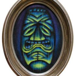 Green Tiki (Original) by Woody Miller - A spooky tiki with dramatic under lighting on black velvet.