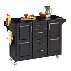 Home Styles - Home Styles Furniture Granite Top Kitchen Cart in Black - Home Styles - Kitchen Carts - 91001044 - The freedom to conduct food preparation anywhere you wish sums up the entire appeal of the Home Styles Kitchen Cart. Whatever the task entails this cart is more than up to it with a granite counter top four utensil / storage drawers and two interior cabinets with adjustable shelving. Four wheel casters allow for freedom of movement and feature a locking function for safety. Side mounted spice and towel racks add further practicality while a black finish provides a definitive look.