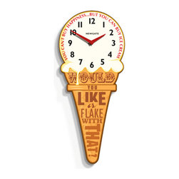 Retro Ice Cream Cone Wall Clock - Inspired by the advertising clocks used by big-name brands and politicians in days gone by, this Retro Ice Cream Cone Wall Clock has a lot to say about our beloved dessert: You can't buy happiness, but you can buy ice cream. Words of wisdom that help you keep track of time? Yes, please!