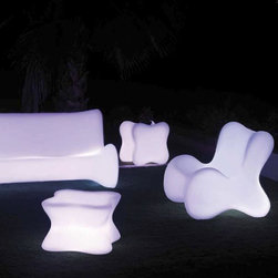Illuminated Doux Outdoor Collection - Illuminated Doux Collection features a lounge chair, sofa and side table.
