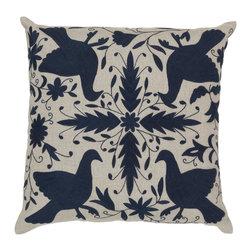 "Surya - Surya 18 x 18 Decorative Pillow, Oatmeal and Midnight Blue (LD020-1818P) - Surya LD020-1818P 18"" x 18"" Decorative Pillow, Oatmeal and Midnight Blue"
