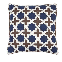 Moroccan Pillow - Indigo/Chocolate - Use the bold vibrant pattern of our sensational Moroccan pillow to give a whole new look to basic furniture pieces. The striking geometric pattern is pigment printed in the fashionable current shades of Indigo and Chocolate, and is satin embroidered at the edges of each segment of the pattern to enhance the colors.
