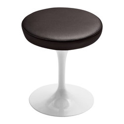 Knoll - Tulip Stool - Minimalism meets modern perfection with the super-sleek Tulip Stool. Designed by Eero Saarinen, this leather-seated stool is a collector's item in the designer furniture world, and will add understated luxury to any room in your house.