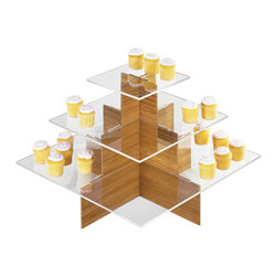Cal Mil - Bamboo Cupcake Display - Showcase your cupcakes on this bamboo tiered base with clear shelves. Featuring an easy assembly this bamboo display is a green alternative to your original tiered cupcake display. This item is guaranteed to catch the eyes of your customers and enhance your food presentation