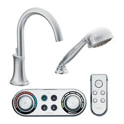 """Moen - Moen T9622 Chrome Roman Tub Trim With Handshower Including Iodigital Technology - Moen T9622 is part of the Icon bath collection. Moen ioDigital T9622 has a Chrome finish. Moen T9622 is a Roman Tub Trim 2-hole installation, with 9 long and 9 15/16"""" high arc spout for conventional styling. Moen T9622 Roman Tub Trim includes a single-function Handshower and 3 programmable presets ioDigital technology puts you in control of precise temperature, flow and custom presets. Also includes child safety lock/unlock. Moen T9622 Roman Tub Trim fits the MPact common valve system and requires Moen's 4994 valve, 4998 spout shank and T3490 series controller. (Sold Separately) Moen's Roman Tub digital remote uses RF technology and has a 30? range depending on intermediary structures. For optional remote refer to A349 series. (Sold Separately) Chrome is a proven finish from Moen and provides style and durability. Moen T9622 meets ASME A112.18.1/CSA B-125.1, CSA B125.3, and ASSE1070 Digital controller meets UL195"""". Digital controller and remote meets FCC part 15. Lifetime Limited Warranty and 5 Year commercial on finish and defects. 5 year on consumer and 1 year on commercial on digital components"""