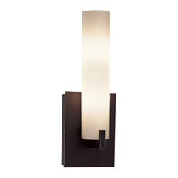 George Kovacs - Tube 1-Light Bath Wall Sconce - Totally tubular, this cylindrical wall sconce softly illuminates your water closet. Etched opal glass filters light beautifully to make your morning routine more pleasant.