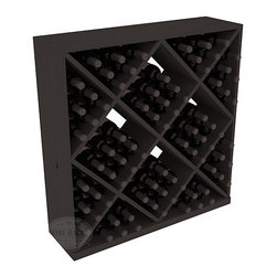Solid Diamond Wine Storage Cube in Pine with Black Stain - Elegant diamond bin style bottle openings make for simple loading of your favorite wines. This solid wooden wine cube is a perfect alternative to column-style racking kits. Double your storage capacity with back-to-back units without requiring more access area. We build this rack to our industry leading standards and your satisfaction is guaranteed.