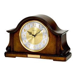BULOVA - Bulova Chadbourne Mantel Clock Model - Solid wood and wood veneer case, Old World walnut finish.