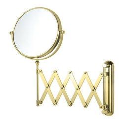 Nameek's - Double Face Adjustable Magnifying Mirror, Gold - Mount this 8 inch double face makeup mirror to your master bathroom wall! The mirror features 3x magnification and an adjustable arm.