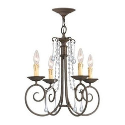 Crystorama - 4 Lights Wrought Iron Crystal Chandelier - Soho natural wrought iron chandelier accented with Swarovski spectra crystal