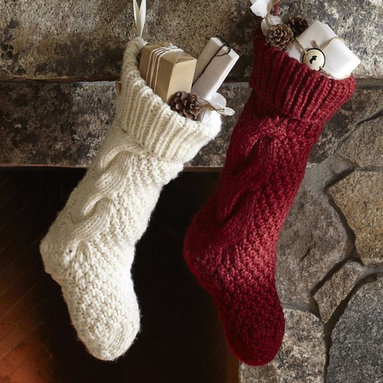 Chunky Knit Stocking - These are my favorite hand-knit stockings in white or red.