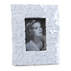 "Concepts Life - Concepts Life Photo Frame  Sacred Mantle  White  4x6"" - Add luxurious shimmer and texture to your most beloved photographs with these Sacred Mantle Photo Frames. These dazzling white frames feature a shell like finish and look stunning when they catch a ray of light.  Modern home accent Contemporary white picture frame Beautiful and elegant home accent Rectangular photo frame Made of polyresin Textured finish Easel back for horizontal or vertical display Various sizes available Holds 4 x 6 in. size photo Dimensions: 8""w x 10""h x 1""d Weight: 2 lbs"