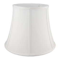 American Heritage Shades - Polyester Lampshade in White w Fitter (22 in. Diam x 15.75 in. H) - Choose Size: 22 in. Diam x 15.75 in. HLampshade Types. Shantung faux silk with off-white fabric liner. Hand made. Matching top, bottom and vertical trim. Round modified bell shape. Enhances lamp and room decor. Made from fabric. Fitter in brass color. Made in USA. No assembly required