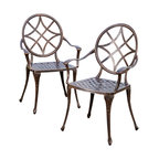 Great Deal Furniture - Norcross Outdoor Cast Aluminum Dining Chair (Set of 2) - The Norcross dining chairs will bring luxury and convenience to your outdoor space. Made from cast aluminum, these durable, high quality chairs feature a round backrest with diamond-shaped details and a diamond-mesh seat rest. The antique shiny copper finish is neutral to match any outdoor furniture and will hold up in any weather condition. Whether in your backyard, patio, deck or even your restaurant outdoor dining space, you'll enjoy these chairs for years to come.