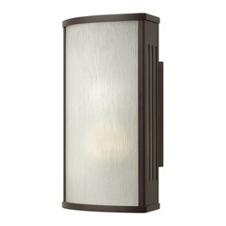 "Hinkley Lighting - District 1-Light Sm Wall Outdoor - District is a contemporary design of solid aluminum construction with a sleek panel of 1/4"" bent rain glass on the front of the lantern. Available in two finishes, the angled side panels in this collection feature vents of etched glass, adding a soft yet modern design element."