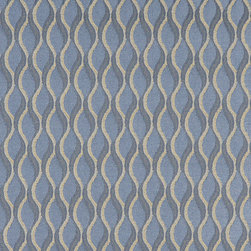 Blue and Gold Wavy Striped Durable Upholstery Fabric By The Yard - P5735 is great for residential, commercial, automotive and hospitality applications. This contract grade fabric is Teflon coated for superior stain resistance, and is very easy to clean and maintain. This material is perfect for restaurants, offices, residential uses, and automotive upholstery.