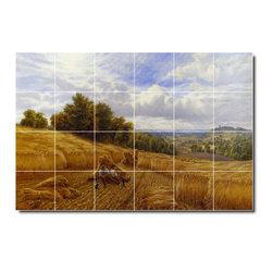 Picture-Tiles, LLC - Resting From The Harvest Tile Mural By Alfred Glendening - * MURAL SIZE: 32x48 inch tile mural using (24) 8x8 ceramic tiles-satin finish.