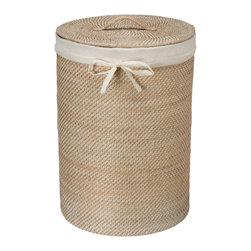 KOUBOO - Round Rattan Hamper with Liner, White Wash - Diameter 17 inches x 24 inches high.