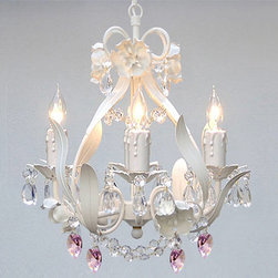 None - Wrought Iron and Crystal Mini 4-light Chandelier - Your favorite room will pop when you install this four-light mini chandelier featuring a striking wrought iron fixture and stunning crystal accents. The chandelier hangs from 18 inches of chain and requires four candelabra base bulbs for illumination.