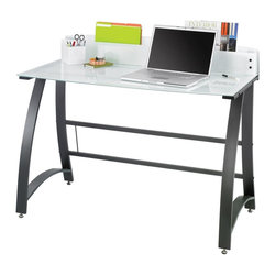 Safco - Xpressions 47 in. Computer Workstation w Tempered Glass Laptop Desk - Powder coat frame. Tempered glass and steel. Assembly required. Optional keyboard tray . Keyboard tray: 23.5 in. W x 15.25 in. D x 1.75 in. H (6 lbs.). 47 in. W x 23 in. D x 37 in. H (63 lbs)Take notes while you work! This computer workstation is perfect for taking down notes, phone numbers or other important messages. It's secret? A tempered glass surface and back panel! Simply use a dry erase marker to jot down important information. The workstation is great for offices, collaboration areas, employee lounges, kiosk areas for employees, print areas and home offices. It's time to leave a mark on every work day.