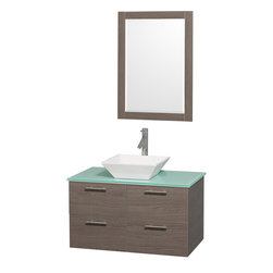 "Wyndham - Amare 36"" Wall Vanity Set in Grey Oak with Green Glass Top & White Porcelain Sin - Modern clean lines and a truly elegant design aesthetic meet affordability in the Wyndham Collection Amare Vanity. Available with green glass or pure white man-made stone counters, and featuring soft close door hinges and drawer glides, you'll never hear a noisy door again! Meticulously finished with brushed Chrome hardware, the attention to detail on this elegant contemporary vanity is unrivalled.; Constructed of beautiful veneers over the highest grade MDF, engineered for durability, and to prevent warping and last a lifetime; 8-stage preparation, veneering and finishing process; Highly water-resistant low V.O.C. sealed finish; Unique and striking contemporary design; Modern Wall-Mount Design; Deep Doweled Drawers; Fully-extending soft-close drawer slides; Counter options include Green Glass, White Man-Made Stone, and Caesarstone (many colors available); Single-hole faucet mount; Available with Porcelain, Granite, and Marble vessel sink(s); Single-hole faucet mount; Faucet(s) not included; Mirror included; Metal exterior hardware with brushed chrome finish; Two (2) functional doors; Two (2) functional Drawers; Plenty of storage space; Includes drain assemblies and P-traps for easy assembly; Minimal assembly required; Weight: 200 lbs; Dimensions: Vanity: 36""W x 21-1/2""D x 20-1/4""H Sink adds 5 to 5 1/2"" to height; Mirror(s): 35""L x 26""D x 3""H"